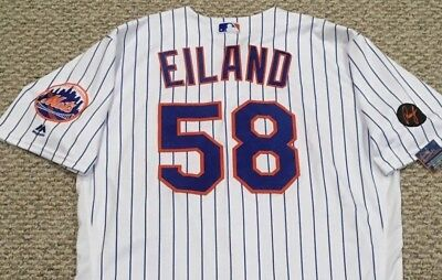 c9bba1b38 EILAND size 48  58 2018 New York Mets home white game used jersey MLB HOLO