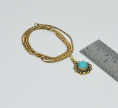 925 Solid Brass Turquoise Chain Pendant Is35543