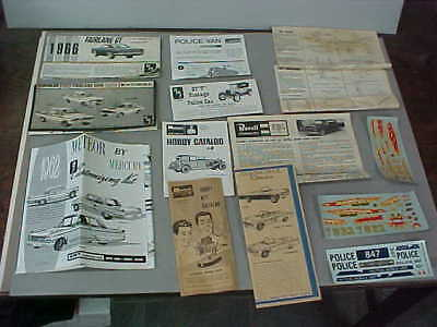 Lot Of Vintage Model Car Instruction Sheets, Catalogs And Decals (Amt-Monogram