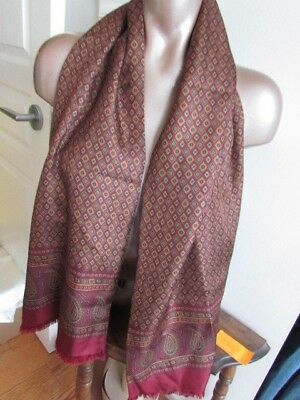 XL Double Layer Men Silk Wool Vintage Scarf Ascot Opera Mustard Burgundy Paisley