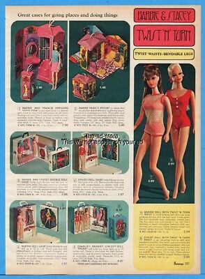 1968 Twist N Turn Barbie and Stacey Dolls Carrying Case Family House Catalog Ad