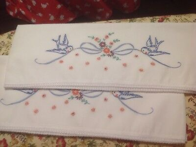Hand Embroidered Pillowcases Bluebirds ,New -Vintage Design, cotton blend