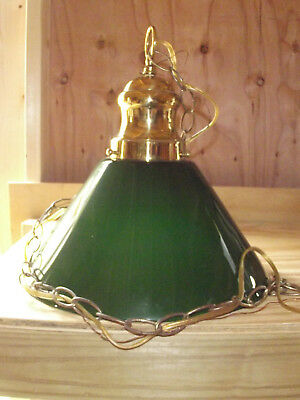 Vintage Green Large Glass Pendant/Swag Light