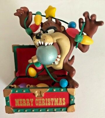 WARNER BROS LOONEY TUNES Taz on Biting Lights Chest Christmas Tree Ornament