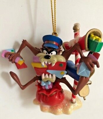 2001 WARNER BROS LOONEY TUNES Mailman Taz Biting Letters Christmas Tree Ornament