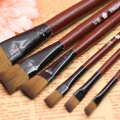 6Pcs Nylon Oil Brushes Acrylic Paint Art For Supplies Watercolor Artist Painting