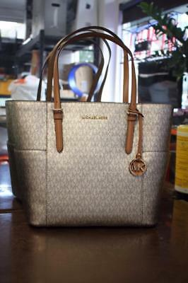 ade2c190d169 NWT Michael Kors Jet Set Travel Signature Acorn & Gold Tote Bag FREE SHIP