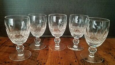 "5 Waterford Crystal Colleen White Wine Glasses 4 1/2"" Tall 2 1/4"""" Diameter"