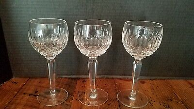 "3 Waterford Crystal Colleen Tall Hock Wine Glass, 7 3/8"" Tall, 2 3/4"" Diameter"