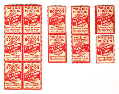 1912 Lot of 12 BOSTON ELECTRIC SHOW Poster Stamps Cinderellas Early Light Bulb