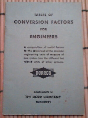 Vintage Tables of Conversion Factors for Engineers 1951 Dorrco
