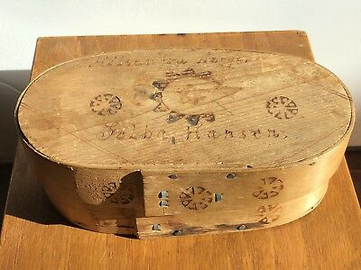 Antique Norwegian Made Oval Pyro Box
