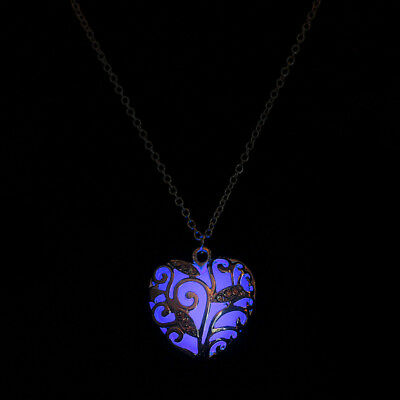 Magical Aqua Blue Heart Glow In The Dark Pendant Necklace Gift