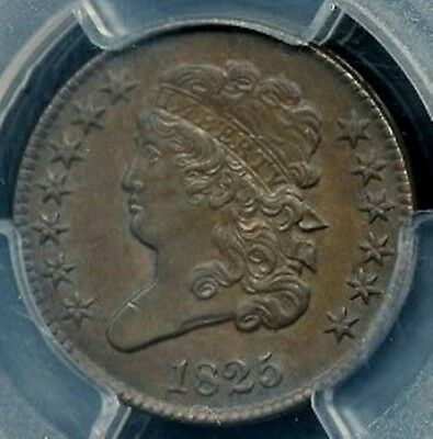 1825 Classic Head Half Cent, Awesome Color And Detail, Pcgs Graded Au58