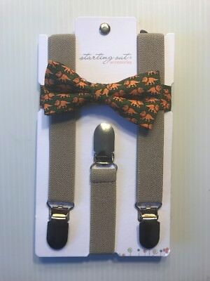 NWT Starting Out Cute Toddler Baby Boy's Bow Tie & Suspenders Set Khaki Dinosaur