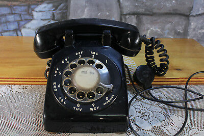 Vintage Rotary Phone Black BELL SYSTEMS Property C/D 500 Desk Top Telephone