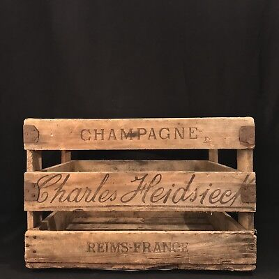 Charles Heidsieck Late 1800s Champagne Crate - Victorian, Restaurant Decor, Art