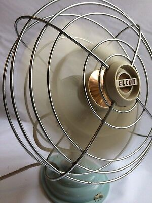 Vintage Elcon electric fan. 1950's, 3 speed, Light blue and cream.