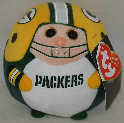 "New! Ty NFL Beanie Ballz Green Bay Packers 5"" size nwt's"