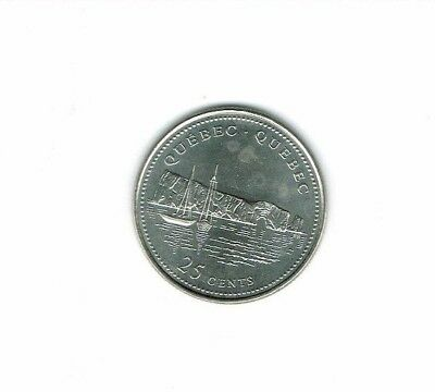 1992 Canadian Brilliant Uncirculated Commemorative Quebec 25 Cent Coin!