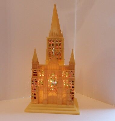 Vintage Plastic CHURCH CATHEDRAL Lights Up Music Box Silent Night Xmas EUC 15""