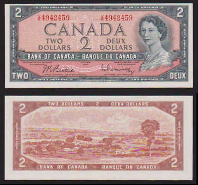 CANADA 2 DOLLARS 1954 YOUNG QUEEN UNC RASMINSKY BOUEY P76 C Plus 1$ 1954