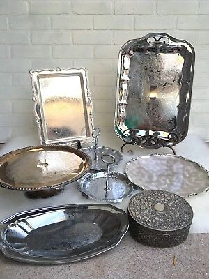 Lot Of Silver Plate trays Dishes Cake Stands Vintage Wedding Entertaining