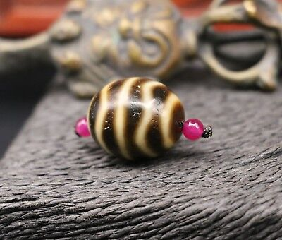 Energy Tibetan Oily Old Agate Ivory Color Water Wave Rich Totem Daluo dZi Bead