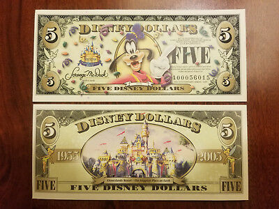 2005 A Series $5 Goofy Disney Dollar, Uncirculated