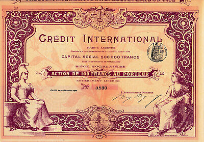 Credit International S.A. histor. Bank Aktie mit Kupons 1901 Frankreich France