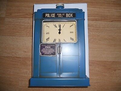 METAL Doctor Who Style Police box Tardis Mantel wall Clock (NEW BOXED)