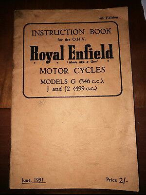 Livret d'instruction Royal Enfield Modèles G, J & J2