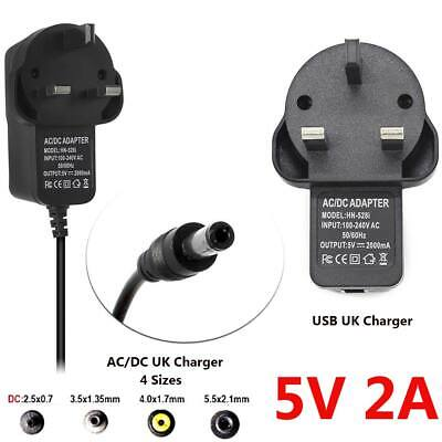 5V-2A 2.5/3.5/4/5.5mm Wall Charger AC/DC USB UK Plug Power Supply Adapter Black