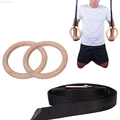 531A EB24 Wooden Exercise Fitness Gymnastic Rings Gym Strength Training Pull Ups