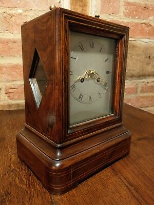 Antique Mid Victorian French 8 Day Mantel Clock circa 1870 With Silk Suspension