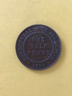 1916 Australian Half Penny Coin Early Date Great Detail 1/2 P Coin #13459