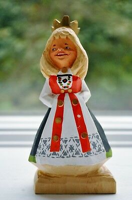 Norwegian Henning Hand Carved Wood Bride Vintage