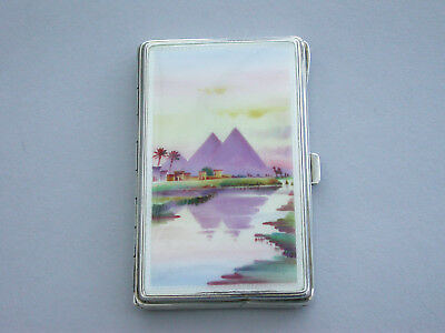 George V Silver & Enamel Cigarette Case, Pyramids, London import marks 1928