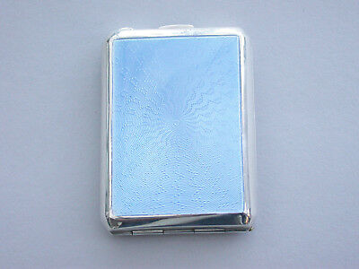 Large Silver & Blue Enamel Matchbook Case By Deakin & Francis, Birmingham, 1934