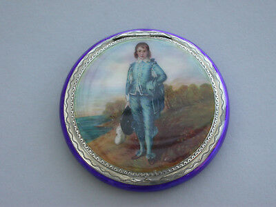 Early 20th Century Continental Silver & Enamel Compact Gainsborough's Blue Boy
