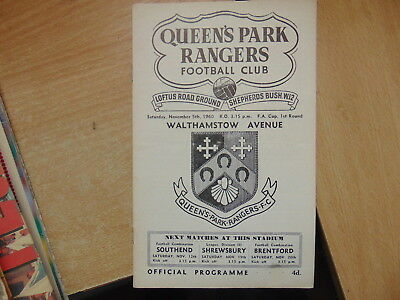 FA Cup 1960/1 Queen's Park Rangters v Walthamstow Avenue NON LEAGUE IN CUP