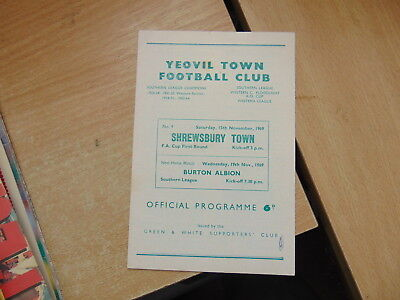 FA Cup 1969/70 Yeovil Town v Shrewsbury Town   NON LEAGUE IN CUP