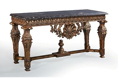 Large Statement Antique Gold Marble Ornate Carved French Hall Console Table