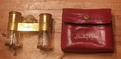 Vintage DOROTHY GRAY 2 MINI PERFUME BOTTLES IN OLD RED CASE Collectible ORNATE !