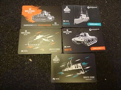World of Tanks (WoT) Warships 5xPC einladungscode invite ohne bonuscode Gamescom