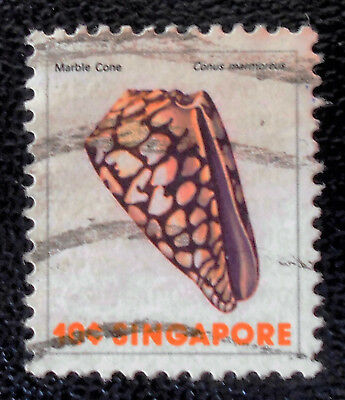 Singapore - Singapour - 1977 Definitive Sea Life 10c Marbled Cone used (30) -