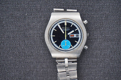 Vintage Seiko Chronograph 6139-8040 BLUE DIAL DAYDATE Automatic