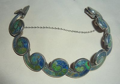 MEXICAN MEXICO VINTAGE 1940's BLUE/ GREEN STONE STERLING SILVER  BRACELET