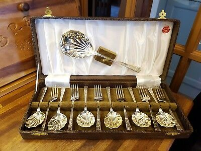 Vintage Epns Plated 6 Cake Forks, 6 Spoons And Cake Slice Yeoman Plate Boxed