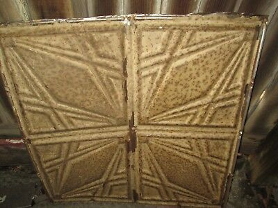 "Antique Ceiling Tin 24"" x 24"" Piece Architectural Salvage Chippy tan brown Paint"